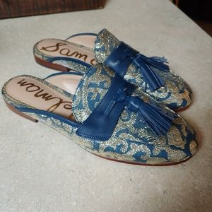 Sam Edelman Paris Jacquard Gold Blue Mules